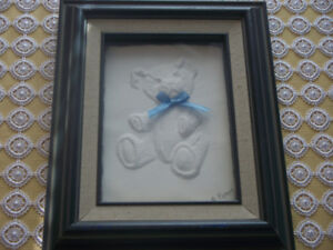 Cast Paper Teddy Bear sculpture by Rod Peters in shadow box