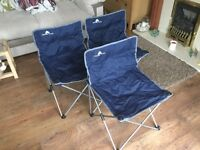 3 x Folding Away Camping, Hiking, Event Chairs in Storage Bags