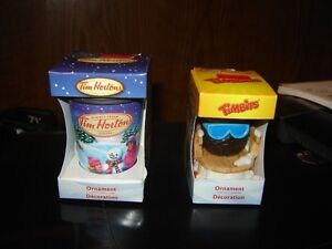 2 TIM HORTONS XMAS ORNAMENTS(TIMBITS&COFFEE CUP)/COLLECTIBLES