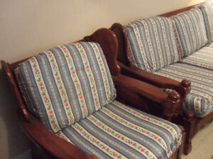 soild dark wood matching coach and chair & matching curtains