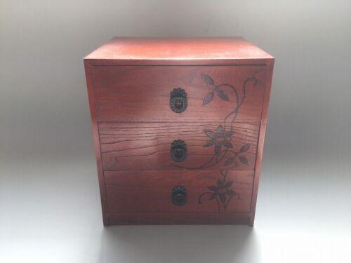 V0843 Japanese Wooden Drawer Box Vintage Hikidashi Storage Handle Interior