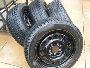set of 16inch winter tires mounted on rims