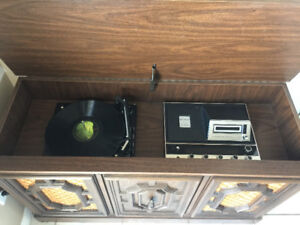 Antique Record Player and 8-track Player