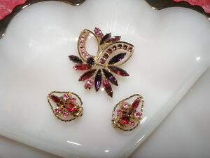 Rich Colourful Vintage Brooch/Earring Set