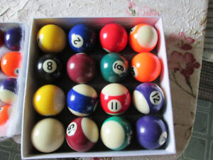 TWO SETS OF POOL BALLS