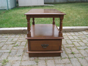 """Vilas"" Wood Side Table with Dovetailed Drawer"