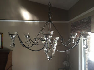 PEWTER & GLASS CANDLE CHANDELIER