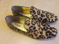 New Ted Baker HERAKI leopard print pony skin effect loafers 7UK
