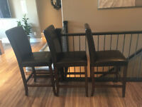 "4 Dark Brown ""Leather"" Bar Height Dining Chairs"