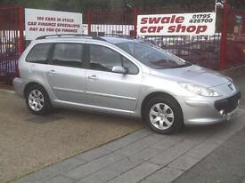 2005 555 Reg Peugeot 307 1.6 16v S Estate Silver 79000,SUPERB,FULL MOT,A/C