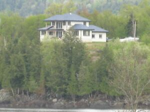 4 acres 700 feet waterfront  modern house