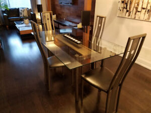 GLASS AND METAL DINING TABLE WITH SIX CHAIRS ......