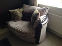 Sofa suite three seater and swivel twister chair double cream material
