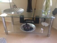 Glass chrome coffee table/ tv stand. Exc cond