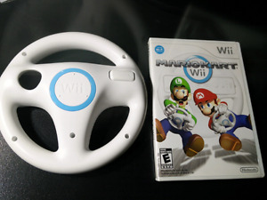 Mario Kart Wii with steering wheel.