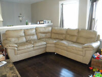 PPU Beige leather sectional $600.00