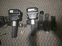 Two manual flash units (Sunpak) with hot shoe triggers + filters