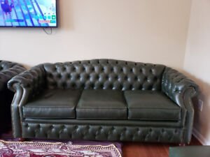 Rich GreenSolid Wood Couch- Great Condition-