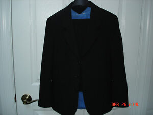 BOYS TWO PIECE BLACK SUIT AND BLUE SHIRT - SIZE 12