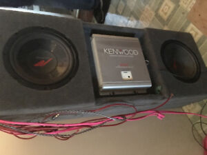 Two 10 inch kenwood subs box and amp
