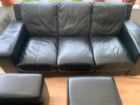 Black leather 3 seater and 2 seater Sofa in York