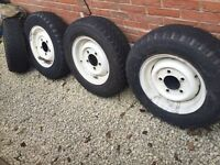 4no Land Rover 90/110 Steel Wheels