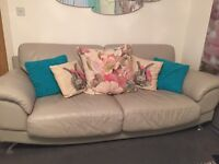 Grey leather sofas 3 seater and 2 seater