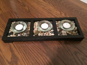 Three candle tray with rock embellishments