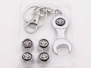 4 Chrome Tire Air Stem Valve Caps & Wrench Key Chain Set TOYOTA