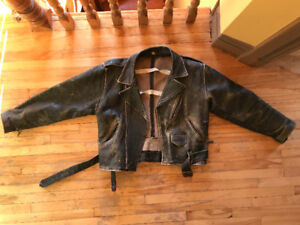 "VINTAGE LEATHER BELTED MOTORCYCLE JACKET, Distressed, 34 "" Chest"