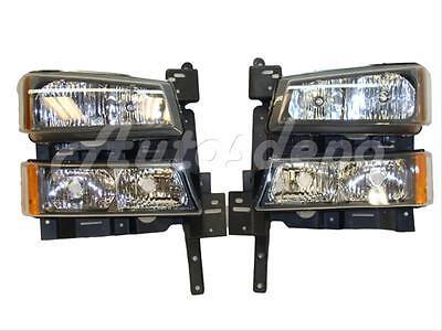 Bundle For 2003-2006 Silverado Signal Light Headlight Header Mounting Panel 6Pc