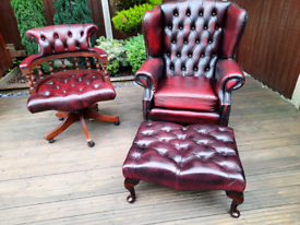 Queen Ann chesterfield armchair, captains chair and footstool