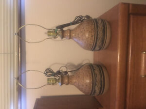 For sale.  Pottery lamps