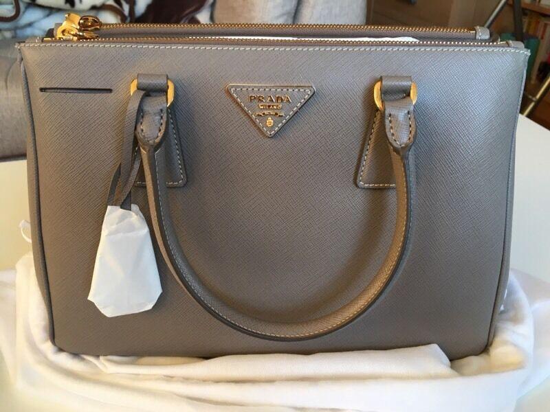 Brand New Prada Galleria Saffiano Leather Bag Argilla Grey 30cm Small