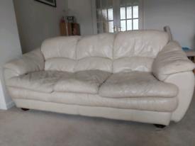 2 x cream leather sofas £10. Need gone