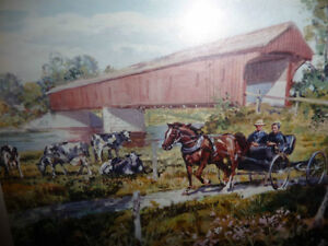 """Peter Etril Snyder """"Cattle By The Covered Bridge"""" Signed/Numbere Stratford Kitchener Area image 2"""