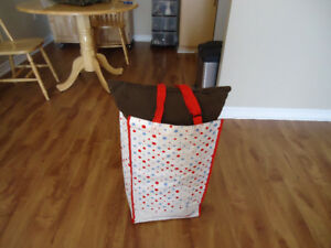 Red & White Shopping Cart On Wheels $ 20.00