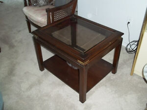 2 glass top end tables - $50 each