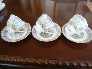 THREE ROYAL ALBERT SILVER BIRCH CUP AND SAUCER SETS