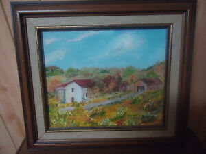 ORIGINAL COUNTRY FARM OIL ON CANVASS PAINTING - WOOD FRAME