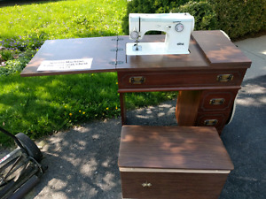 Vintage sewing machine table and seat/chest