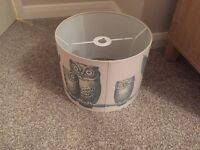 Neutral colour owl ceiling lampshade