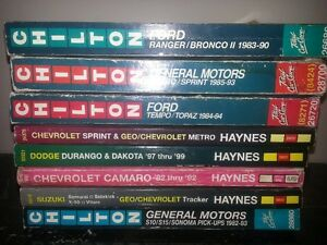 Chilton and Haynes Repair Manuals
