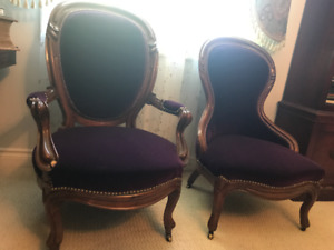 Matching Pair of Antique late 1800's, Ladies and Gentlemen chair