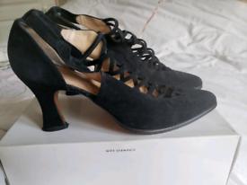 ,Black suede high heels,