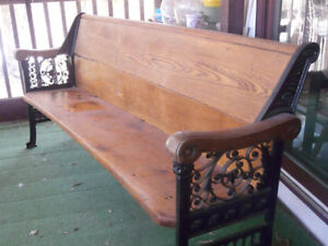 Church Pew with Cast Iron Legs