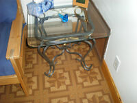 Glass top coffee and end tables tables