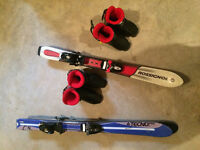 junior downhill skis and boots and harness