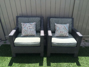 2 Outdoor Grey Wicker Arm Chairs