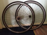 Pair of speed road bike tyres rims